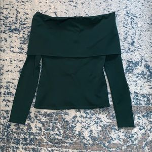 Theory Forest Green Off Shoulder Top - Size P